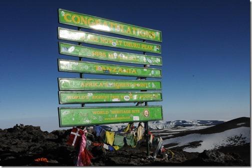 Sign at Uhuru Peak, Mount Kilimanjaro, Tanzania - September, 2012