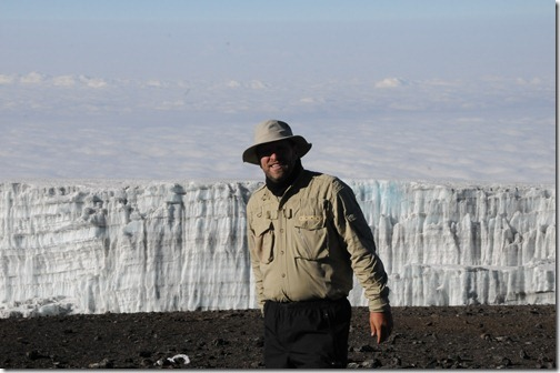 Self-portrait of me with the Southern Icefields in view at the top of Uhuru Peak, Mount Kilimanjaro