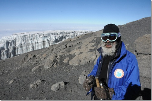 Mark Miller (Babu, as he is known in Swahili,) descending from the top of Mount Kilimanjaro, Tanzania