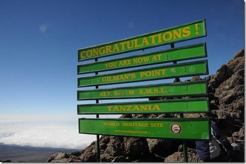 Sign at Gilman's Point, Kibo Peak, Mount Kilimanjaro