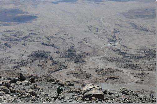 View from Gilman's Point down to Kibo Hut, Mount Kilimanjaro
