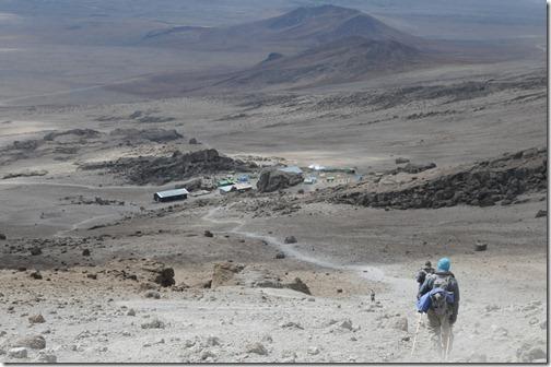 Descending to Kibo Hut, Marangu Route, Mount Kilimanjaro
