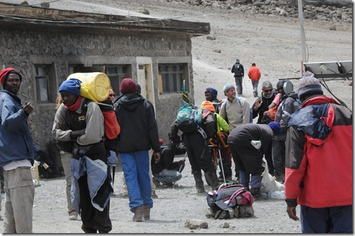 Activity at Kibo Hut on Mount Kilimanjaro, Tanzania