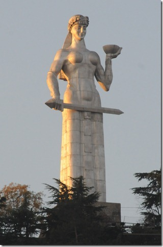 "The Soviet-era ""Mother of Georgia"" (Kartlis Deda, ქართლის დედა) statue in Tbilisi, Georgia"