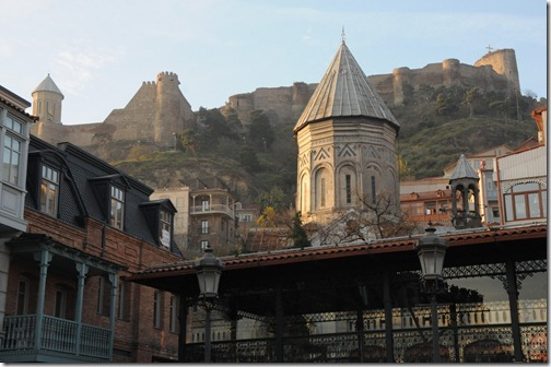 View towards Narikala Fortress (ნარიყალა) from Old Tbilisi, Georgia