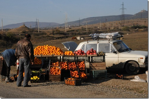 Roadside fruit stand along the road between Tbilisi, Georgia and the border with Armenia