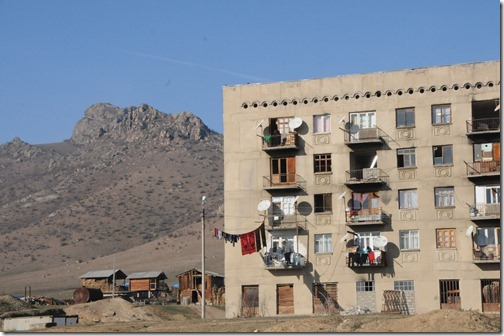 Soviet-era Apartment building along the road between Tbilisi, Georgia and the border with Armenia