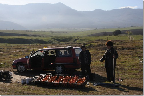 Georgian wearing a traditional sheepskin hat (Papakhi, ფაფახი) and selling fruit along the road in the Georgian countryside.