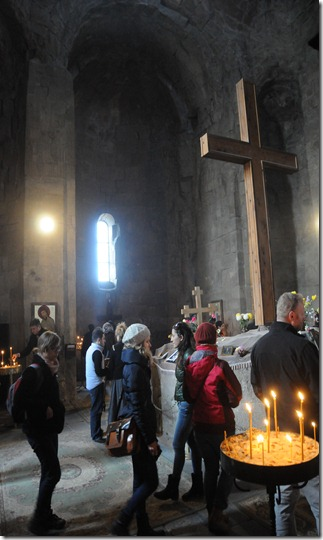 Inside the Jvari Monastery (ჯვრის მონასტერი) in Mtskheta, Georgia)