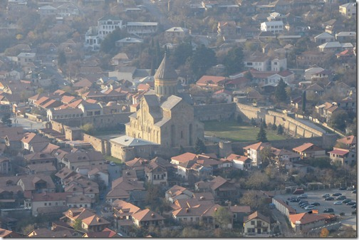 Aerial view of Svetitskhovelia Cathedral (სვეტიცხოვლის საკათედრო ტაძარი) in Mtshketa, Georgia