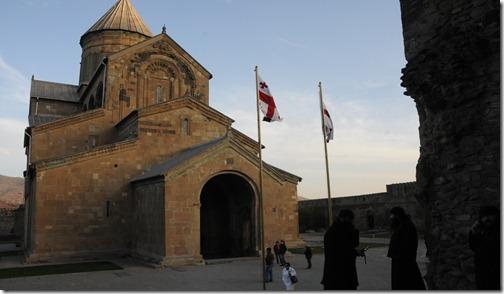 Georgian Orthodox priests outside Svetitskhovelia Cathedral (სვეტიცხოვლის საკათედრო ტაძარი) in Mtshketa, Georgia
