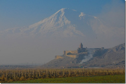 Khor Virap monastery (Խոր Վիրապ) and Mt. Ararat, as viewed from Armenia