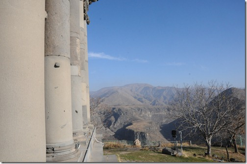 View from the back of the Garni Temple (Գառնի) in Armenia, rare example of an intact and unmodified pagan temple in the region