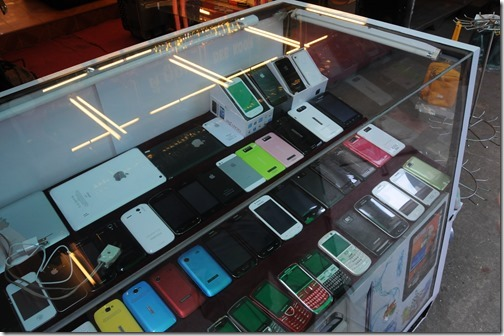 Fake iPhones and fake iPads being sold in the market in Tachileik, Burma (Myanmar)