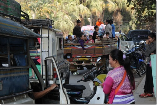Trucks loaded with passengers in Tachileik, Burma (Myanmar)