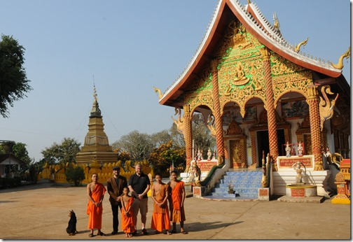 Joel and I with teenage Buddhist monks in  Ban Houayxay (Huay Xai), Laos