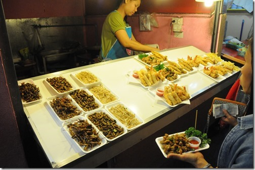 Eating insects and bugs in the night market in Chiang Rai, Thailand