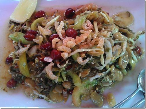 Burmese Tea Leaf Salad, or Lahpet Thohk (လက်ဖက်သုတ်) in Tachileik, Burma (Myanmar)