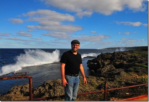 Self-shot on the Tongan coastline with blowholes erupting in the background