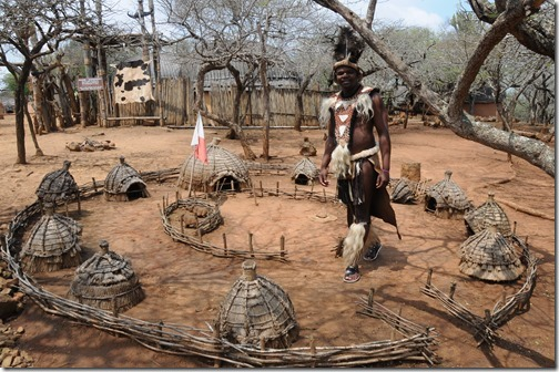 Minature recreation of a Zulu village in Shakaland, Kwa-Zulu Natal, South Africa