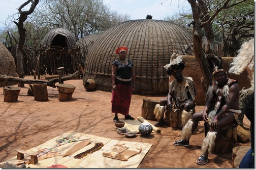 Leatherworking skills being demonstrated in Shakaland, outside of Durban, South Africa