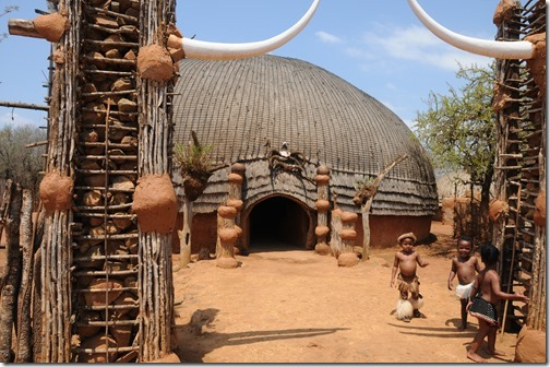 Zulu children at the main lodge in Shakaland, KwaZulu-Natal, South Africa