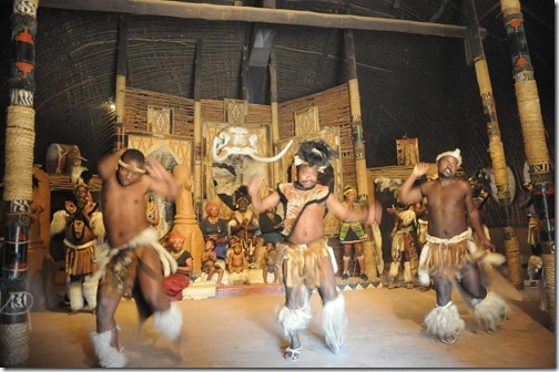 Zulu Warriors dancing in the main lodge of Shakaland in South Africa