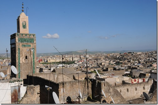 Minaret and the rooftops of the Medina in Fes, Morocco