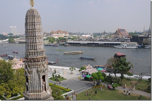 View of the Chao Phraya River from Wat Arun (Temple of Dawn,) Bangkok, Thailand