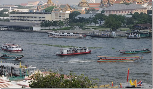 Water taxis on the Chao Phraya River in Bangkok, Thailand