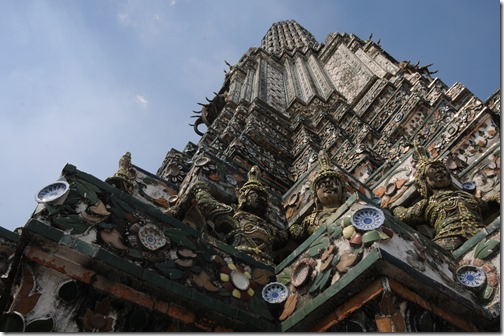Detail of the porcelain tile on Wat Arun (Temple of Dawn,) Bangkok, Thailand