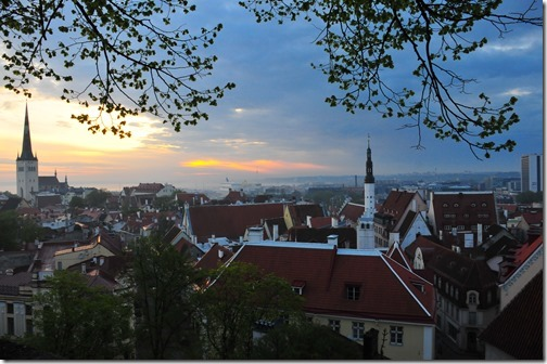 Sunrise over the old city of Tallinn, Estonia