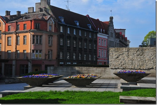 Flowers and colorful buildings in the Old Town of Tallinn, Estonia