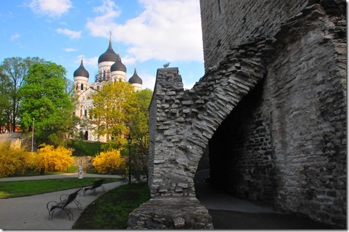Alexander Nevsky Cathedral and portion of the City Walls in Tallinn, Estonia