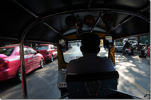 Riding in the back of a Tuk Tuk in Bangkok, Thailand