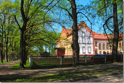 Colorful houses and tree-lined streets in Pärnu, Estonia